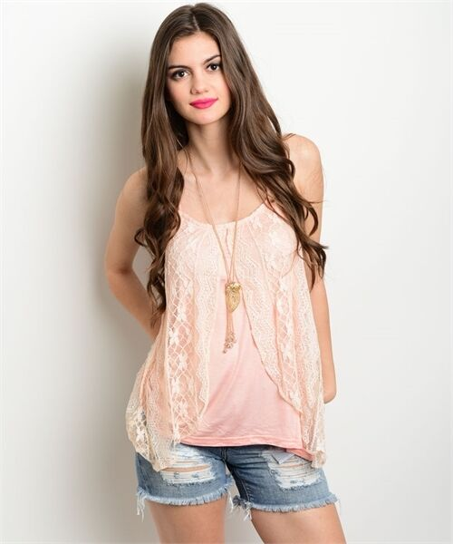 LOVERICHE Pink Overlay Sleeveless Flowy boho Camisoles Top S M L