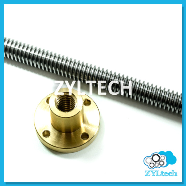 1 2 10 single start ACME Threaded Rod Lead Screw w Brass Nut 12quot; 24quot; 36quot; 48quot;