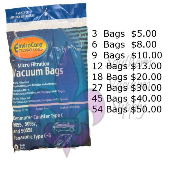 Sears Kenmore Canister Type C Vacuum Bags For 5055 50557 and 50558 Models