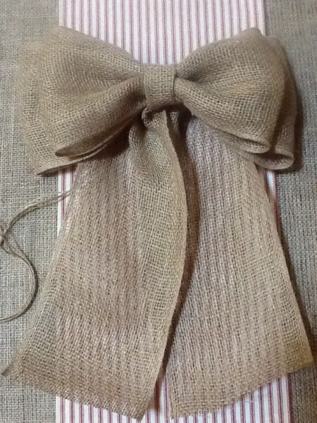 Burlap Pew Bow Rustic Wedding Vintage Chic Primitive Wreath Country