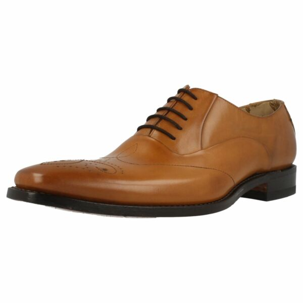 MENS LOAKE GUNNY TAN LEATHER SMART LACE UP SHOES FITTING F