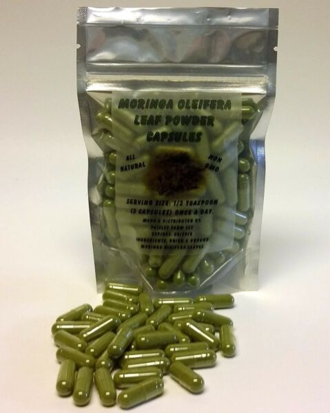 Moringa Leaf Powder Capsules NON GMO! From Paisley Farm and Crafts