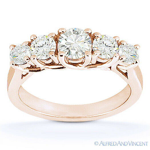 Forever ONE D-E-F Round Cut Moissanite 14k Rose Gold Trellis Wedding Ring Band