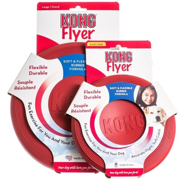 KONG Flyer Fun Dog Flying Frisbee Toy Non-Toxic Fetch safely Great for Teeth
