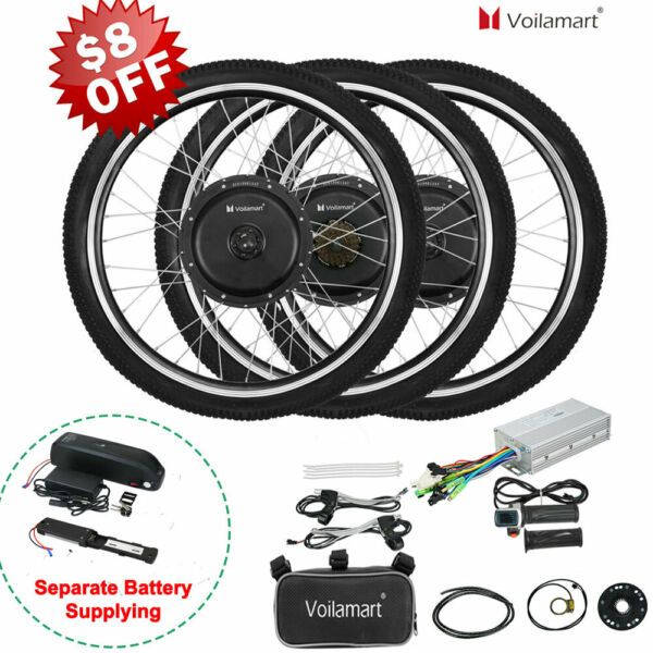 Voilamart Electric Bicycle E Bike 26quot; Front Rear Wheel Motor Conversion Kit $223.99