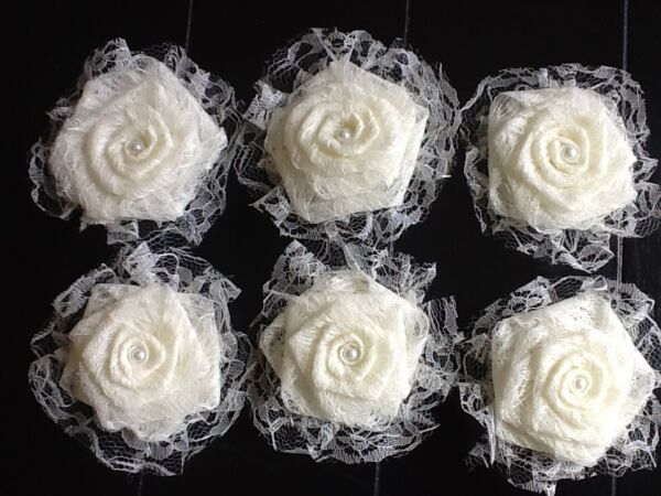 Six Lace Flowers Ivory Burlap Shabby Chic Cottage Wedding Outdoor Table Wreath