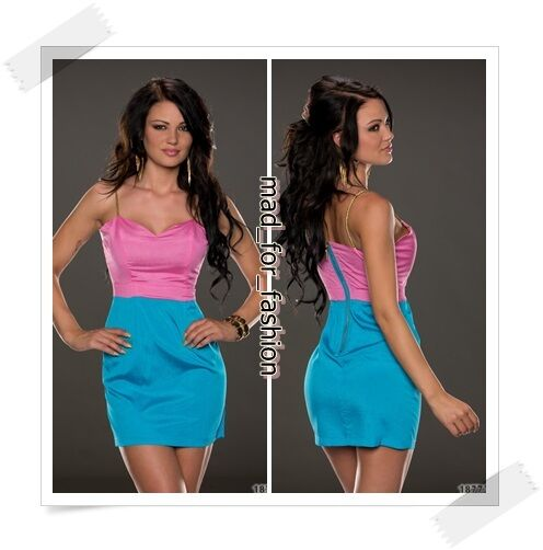 SEXY SUMMER MINI DRESS IN PINKBLUE WITH BACK ZIP.