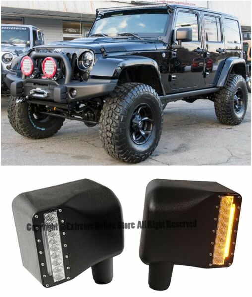 For 07-Up Jeep Wrangler JK Side Mirror Cover W Yellow LED Turn Signal Light