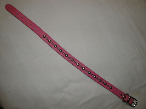 Pink Leather Silver Spiked Dog Collar 26quot; $14.99