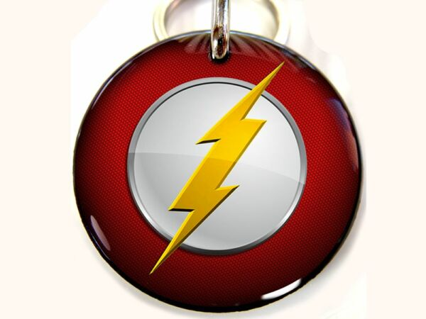 Flash lightning Superhero CUSTOM movie Pet Dog Cat ID Tag personalized $15.00