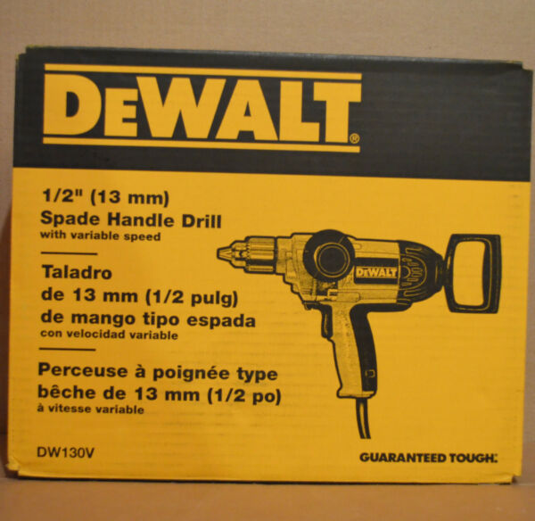 Brand New DEWALT DW130V 9 Amp 1/2-Inch Drill with Spade Handle