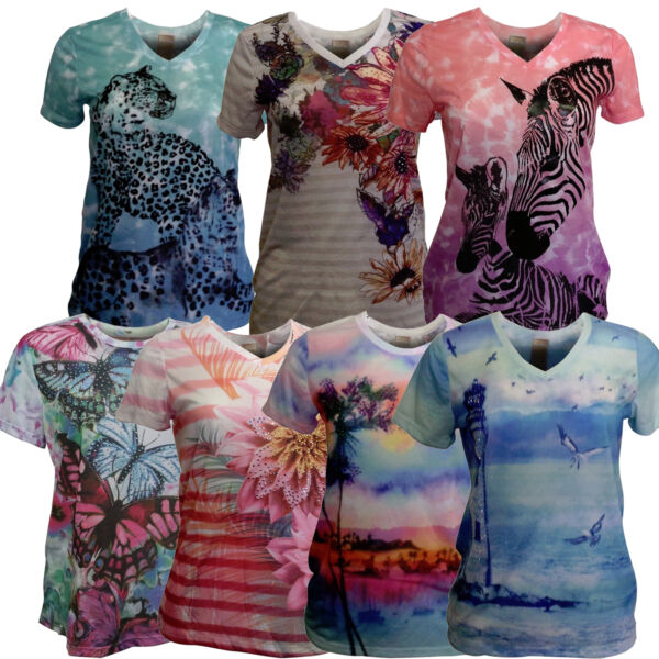 Women's COLORFUL Graphic T-Shirt SOFT Light Fabric Sublimation Short Sleeve  $13.49