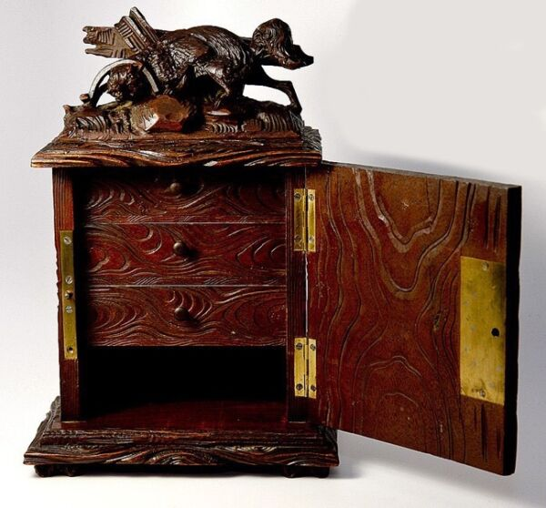Antique Black Forest Carved 10quot; Chest Cabinet Box: Animalier Style FOX in Trap