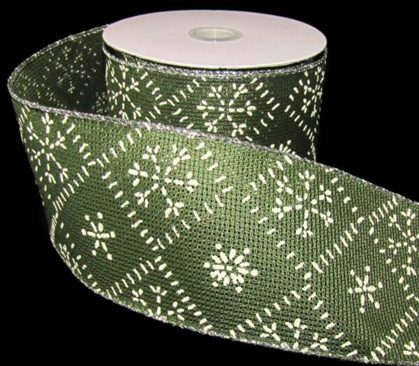 10 Yds Country Christmas Green Snowflake Burlap Like Wired Ribbon 2 1 2quot;W