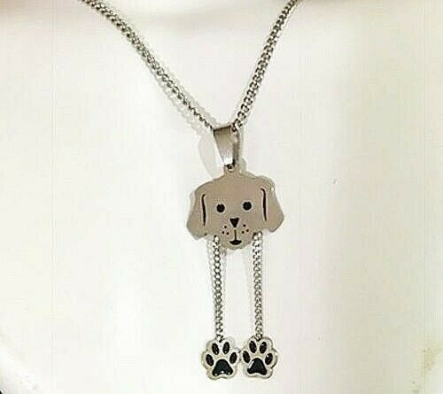 Dog Paw Print Stainless Steel Necklace Pendant Silver 18quot; $19.99