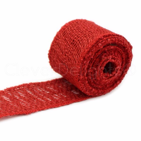 2quot; Burlap Ribbon Red Color 10 Yards Finished Edge Jute Craft Fabric