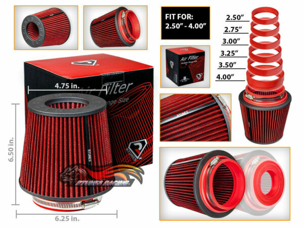 Short Ram Cold Air Intake Filter RoundCone Universal RED For Hyundai