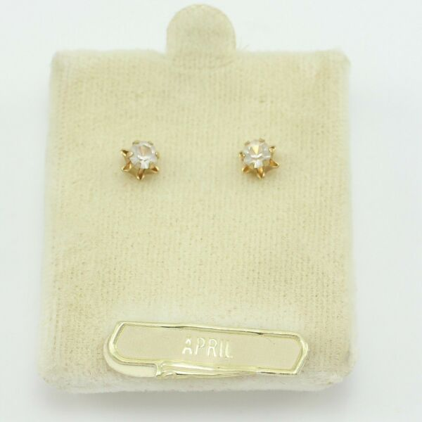 VINTAGE 14K Yellow Gold Colorless Synthetic Spinel Stud Earrings Dainty NOS