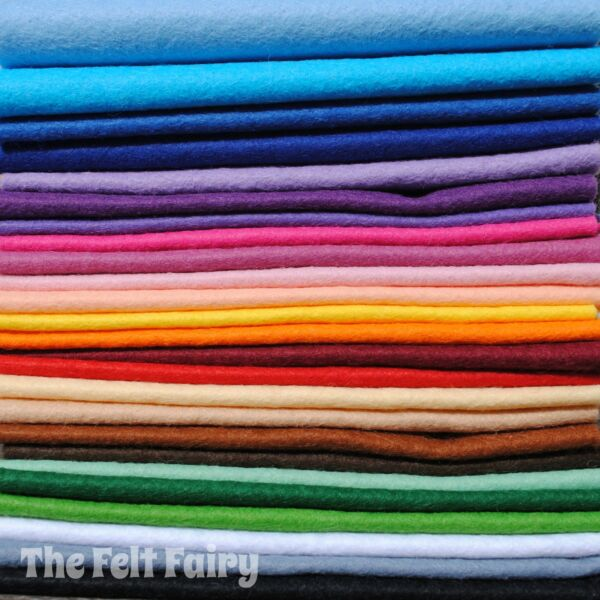 Wool Mix 12 inch Felt Square x 25 Starter Rainbow Pack