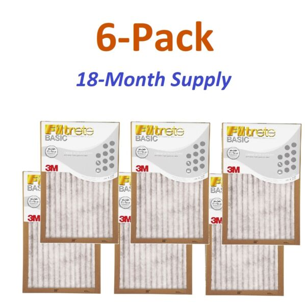 6 Pack Filtrete Basic 3M Air Filter Replacement Pad Home Central Furnace Dust AC $30.77