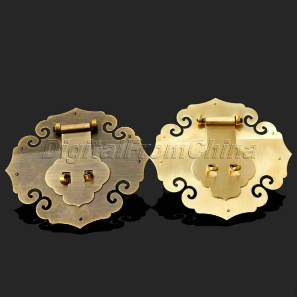 Brass Chinese Furniture Hardware Lock Chest Lid Handle Box Locking Lathes Copper