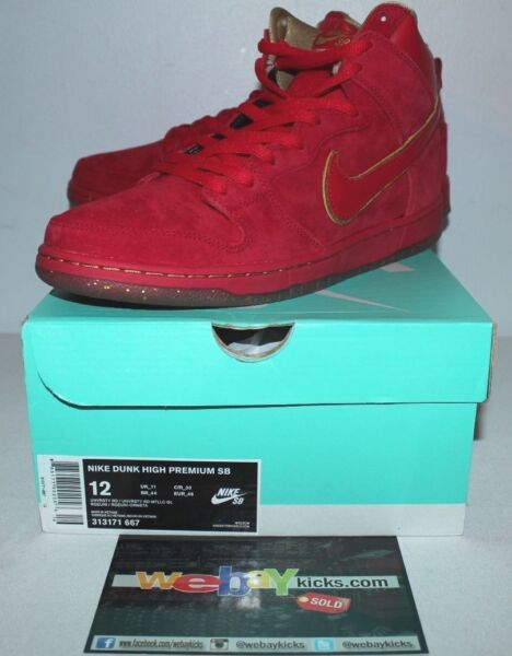 Nike Air Dunk PRM High SB CNY Chinese New Year Red Sneakers Men's Size 12 New
