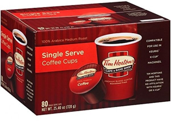 80 Coffee Cups Single Serve Pods Premium Roast Keurig Arabica Beans Tim Horton