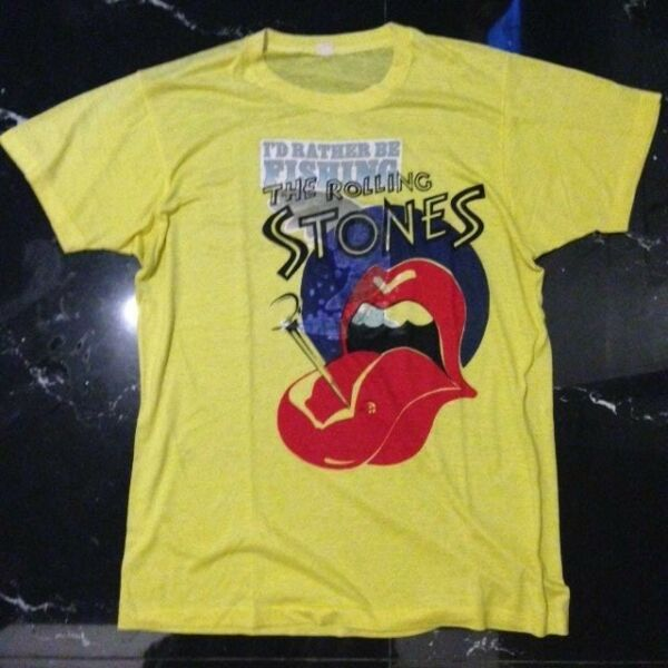 Vintage I'D RATHER BE FISHING THE ROLLING STONES shirt size M