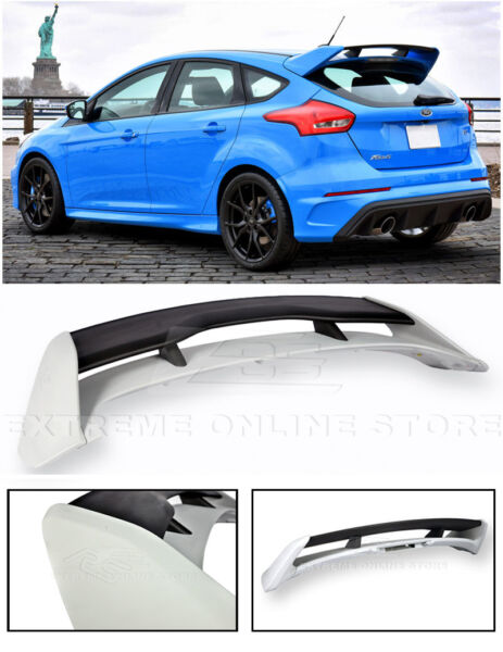 For 13-Up Ford Focus Hatchback JDM RS Style PRIMER BLACK Rear Roof Wing Spoiler