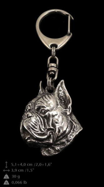 Boxer silver covered keyring high qauality keychain Art Dog C $18.99