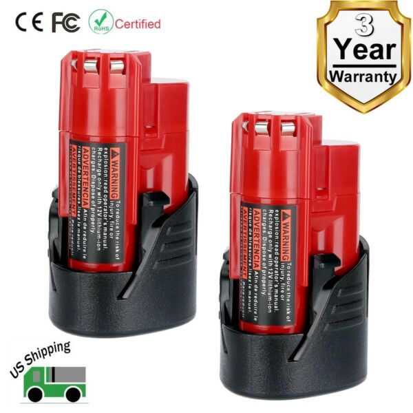2 Pack New 12V 1.5Ah Lithium-ion Battery for Milwaukee M12 48-11-2420 48-11-2401