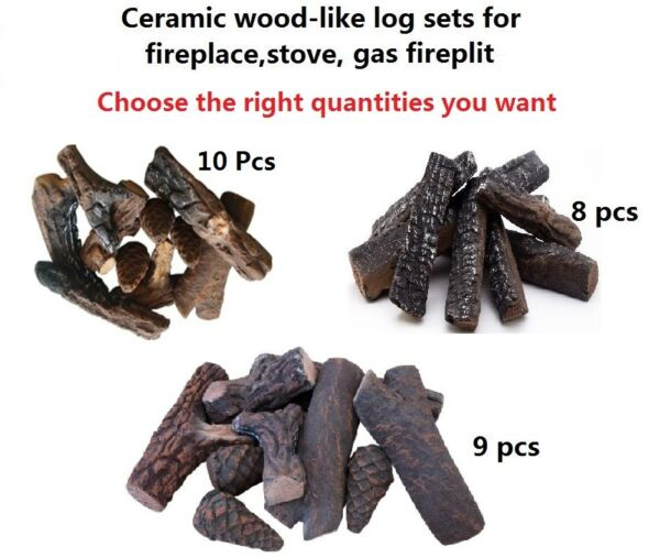 Wood-like 8 9  10 Pcs Ceramic decorative Log Set for Fireplace stoves firepit