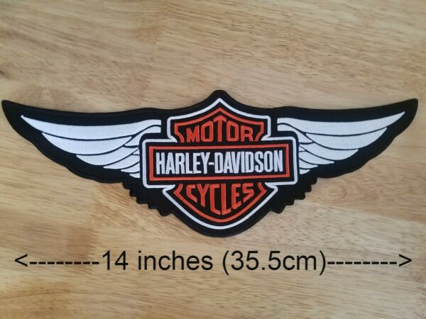 Harley Davidson Orange Logo with Wings Sew on Patch 2XL $24.99