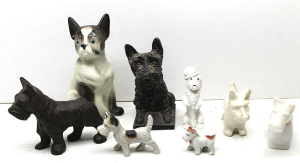 8 pc Lot CeramicMetal Dog Figurines ScottieScottish TerriersPug Vintage Dog $39.99
