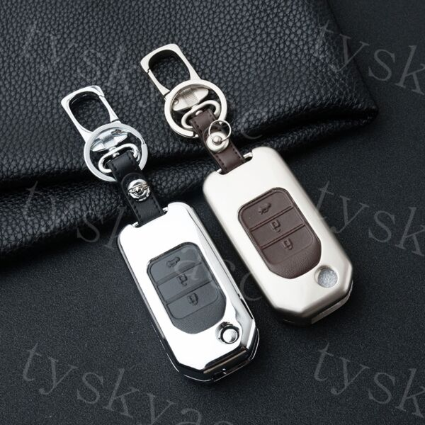 Metallic Key Fob Case Holder Shell Cover For Honda Accessories Fold Key 3 Button