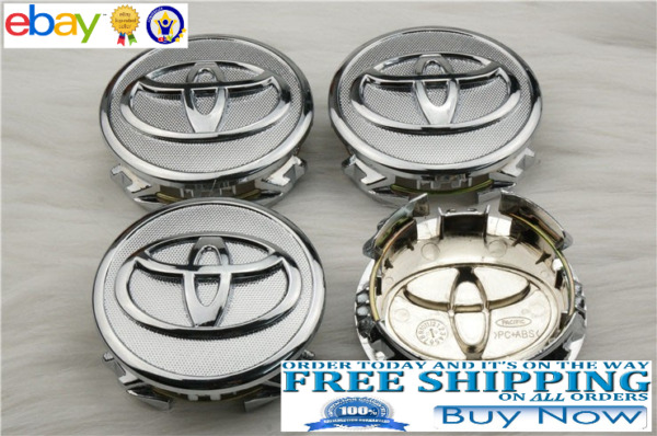 4 Toyota Corolla Chrome Center Caps Cap 2009-2013 Prius 04-15  Yaris 2006-2014