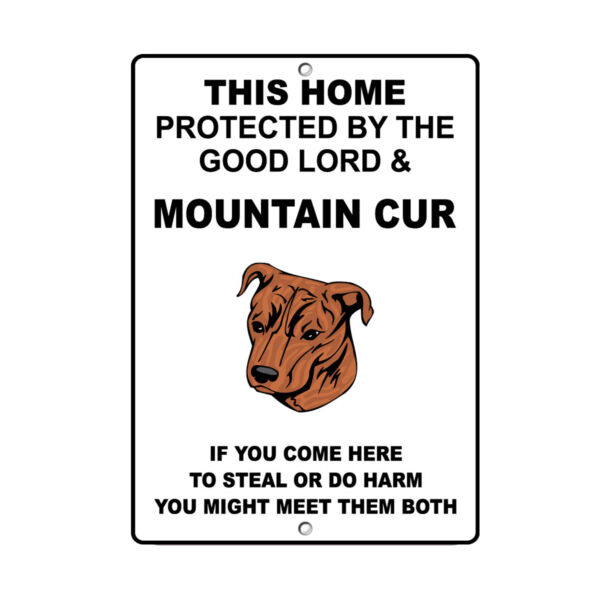 MOUNTAIN CUR DOG Home protected by Good Lord and Novelty METAL Sign $14.99