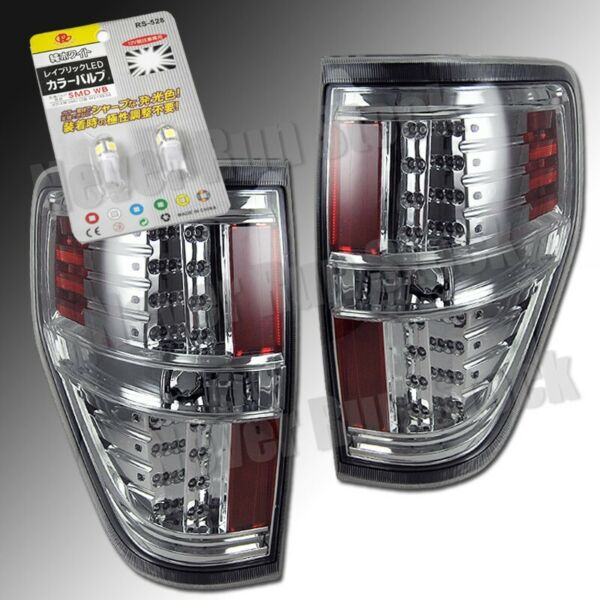 FORD F150 CLEAR CHROME HOUSING LED TAIL LIGHTS + WHITE LED LICENSE PLATE BULBS