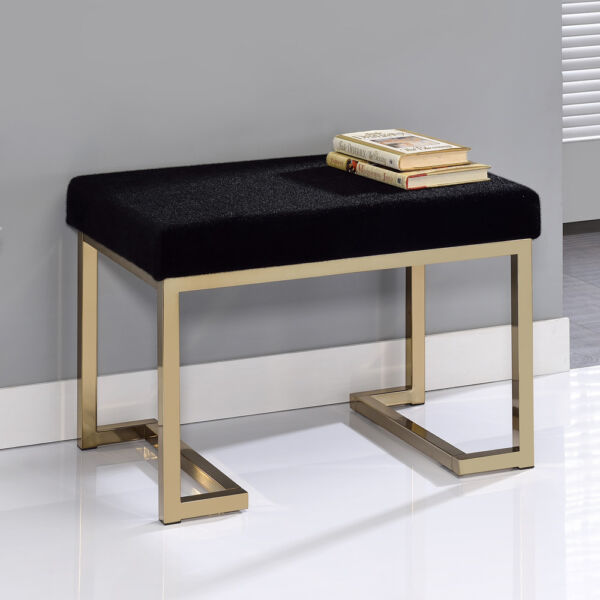 Boice Hallway Entryway Comfort Black Bench Stool Ottoman Champagne Metal Base