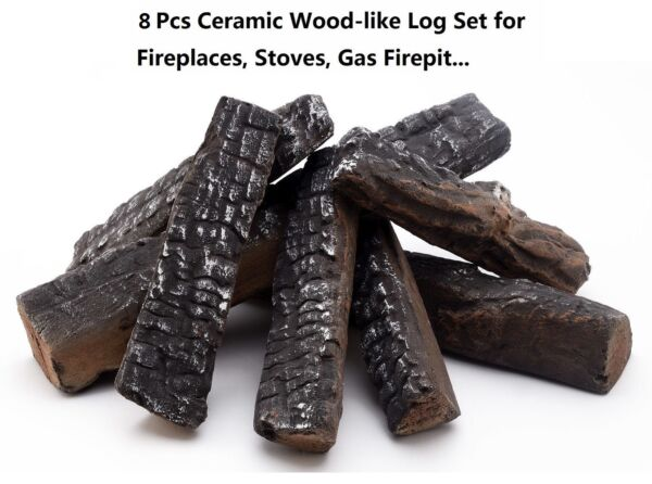 8 Pieces Wood-like Ceramic Logs for Ethanol Gas Fireplace stoves gas fire pit