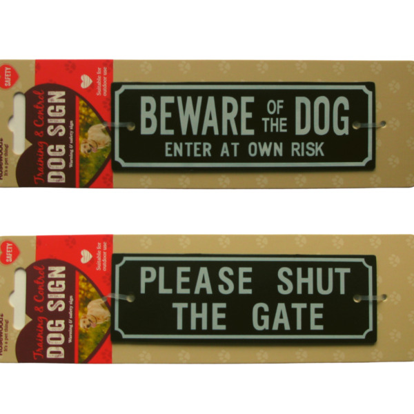 Dog Warning Signs BEWARE OF THE DOG PLEASE SHUT THE GATE Screws Included Plaque GBP 3.90