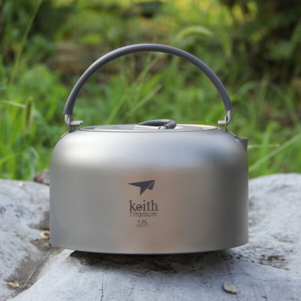1000ml Titanium Outdoor Camping Cooking Survival Pot Water Kettle Teapot Coffee
