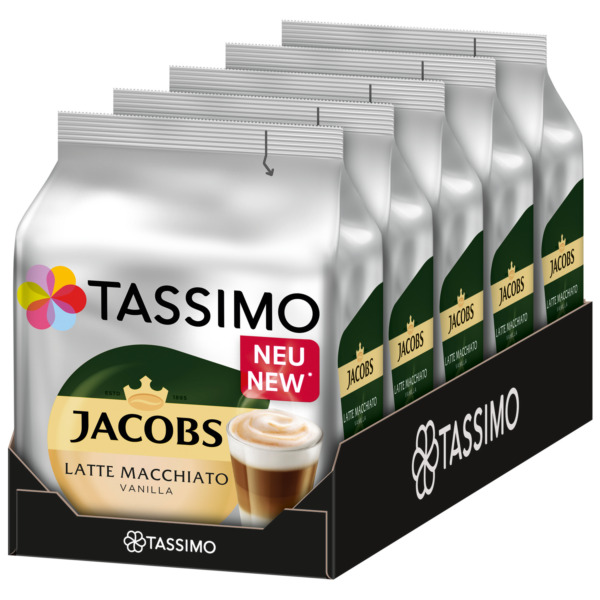 TASSIMO Jacobs Latte Macchiato VANILLA coffee pods  k-cups -5 PACK-