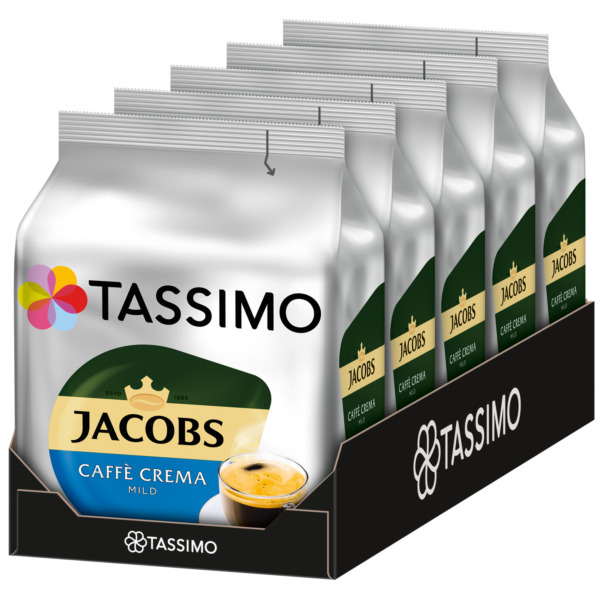 TASSIMO Jacobs Cafe Crema MILD coffee pods  k-cups -5 PACK-