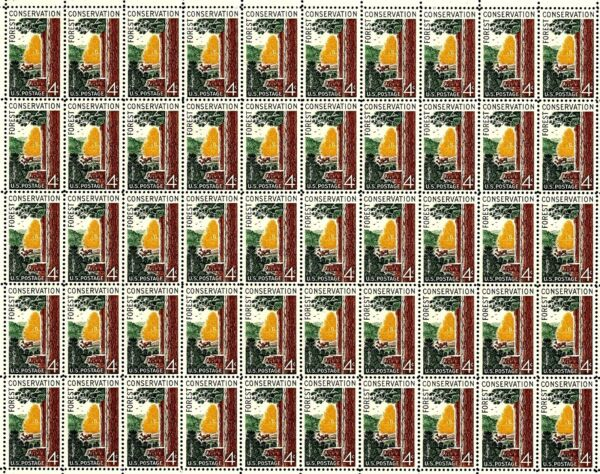 1958 FOREST CONSERVATION #1122 Fault Free Mint NH Sheet of 50 Postage Stamps