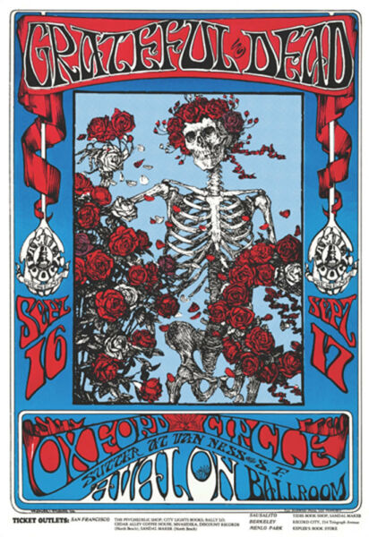 Grateful Dead - Skeletons & Roses Poster - 24