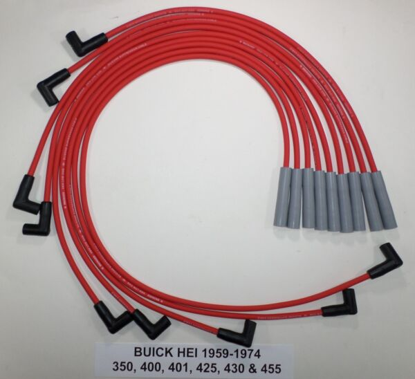 BUICK 1967-1976 350-400-430-455 RED 8mm HEI HI-PERFMANCE SPARK PLUG WIRES USA