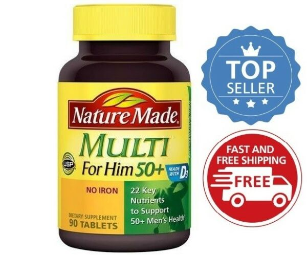 Nature Made Multi for Him 50+ Multiple Vitamin and Mineral Supplement 90 Tablets