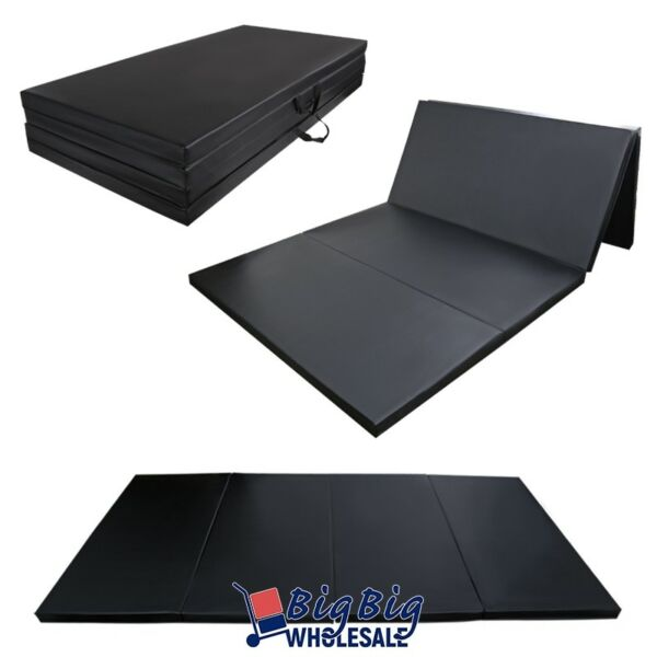 Black 4#x27;x8#x27;x2quot; Thick Folding Gymnastics Mat Exercise Fitness Yoga Stretching Pad