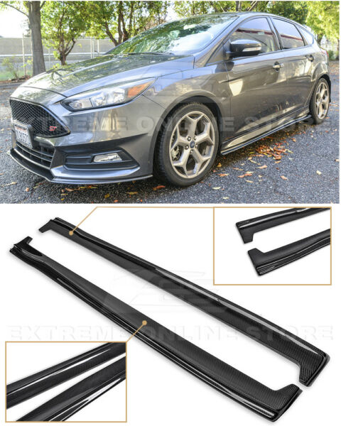 For 13-Up Ford Focus ST  RS CARBON FIBER Add-On Side Skirts Panel Extensions